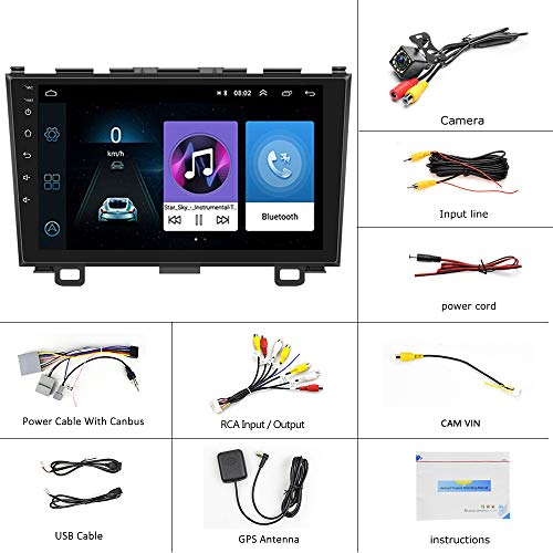 Android Car Radio for Honda CRV 2007-2011 Double Din Touch Screen Car Stereo with GPS/WiFi/Bluetooth/FM, Mirror Link, 9 Inch Car Stereo with Backup Camera+Dual USB