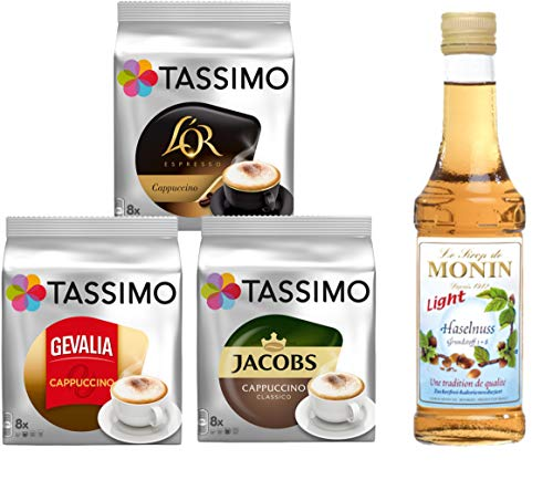 Tassimo® meets Monin® | Set 17 | Cappuccino | Sirup | Jacobs | Gevalia | L'OR | 3 verschiedene Tassimo Sorten & 1 Flasche Monin Haselnuss Light Sirup 250ml