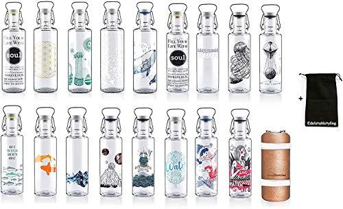 Soulbottle Trinkflasche Glasflasche Wasserflasche 600ml, 1000ml - 100% Plastikfrei und Dicht + Stoffbeutel (1000ml, One million drops)