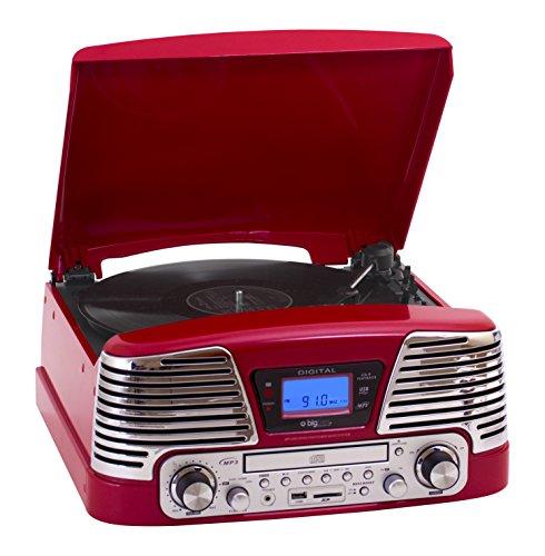 BigBen TD79 II - Tocadiscos para equipo de audio (LCD, USB, 3.5 mm), color rojo