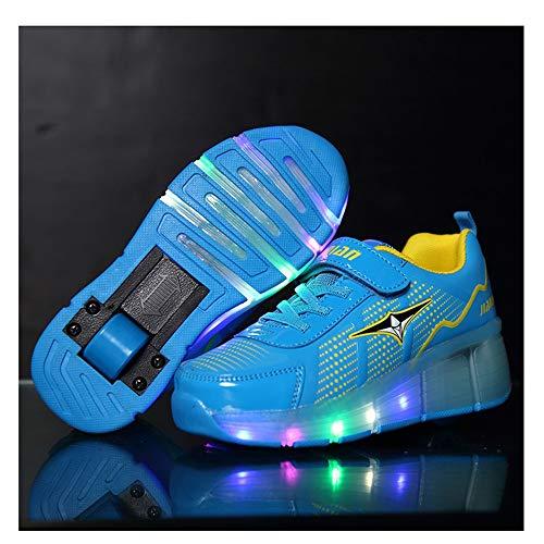 WXBYDX Unisex Kinder Mode LED Schuhe Mit Rollen Drucktaste Einstellbare Skateboardschuhe Outdoor Gymnastik Turnschuhe Für Junge Mädchen,Größe (25-42) blue-33