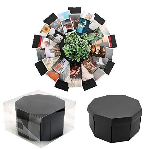 VEESUN Explosionsbox Geschenkbox mit 9 Gesichtern, Kreative Überraschung Box DIY Fotoalbum, Jahrestag Geburtstags Valentine Hochzeit Personalisierte Geschenk für Frauen Freund, Schwarz, MEHRWEG