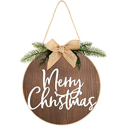 Jetec Merry Christmas Decorations Wreath Christmas Hanging Sign Rustic Burlap Wooden Holiday Decor for Christmas Home Window Wall Farmhouse Indoor Outdoor Decorations (Brown)
