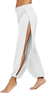 Women's High Slit Harem Yoga Pants Loose Fit Lounge Beach Pants