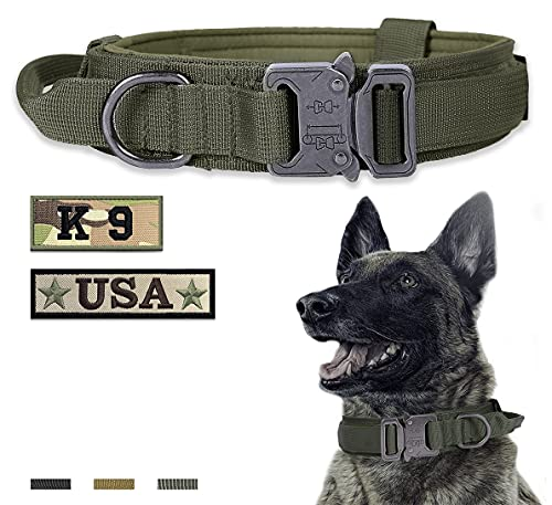 Amai Keto Tactical Dog Collar Nylon Adjustable Military Training Collar with Handle and Heavy Duty Metal Buckle K9 Dog Collar for XLarge Dogs