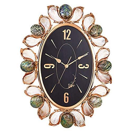 FHUA Pelucas Reloj de Sala de Estar de Perlas de Resina/Reloj de decoración de Concha de Personalidad de Moda/Reloj de Pared Ovalado de Gama Alta para el hogar 84 * 62 * 8 cm (Color:Oro)