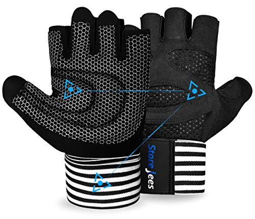 Weight Lifting Gym Workout Gloves with Wrist Wrap Support for Men & Women - Full Ventilated Training Glove Protect Thumb & Palm (X-Large)