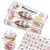 Leslady 100PCS Wachspapier Wachstücher Wax Wraps Waxpaper Wiederverwendbar 21x25 cm Lebensmittelverpackung für Kuchen Brot Käse Sandwich Kekse