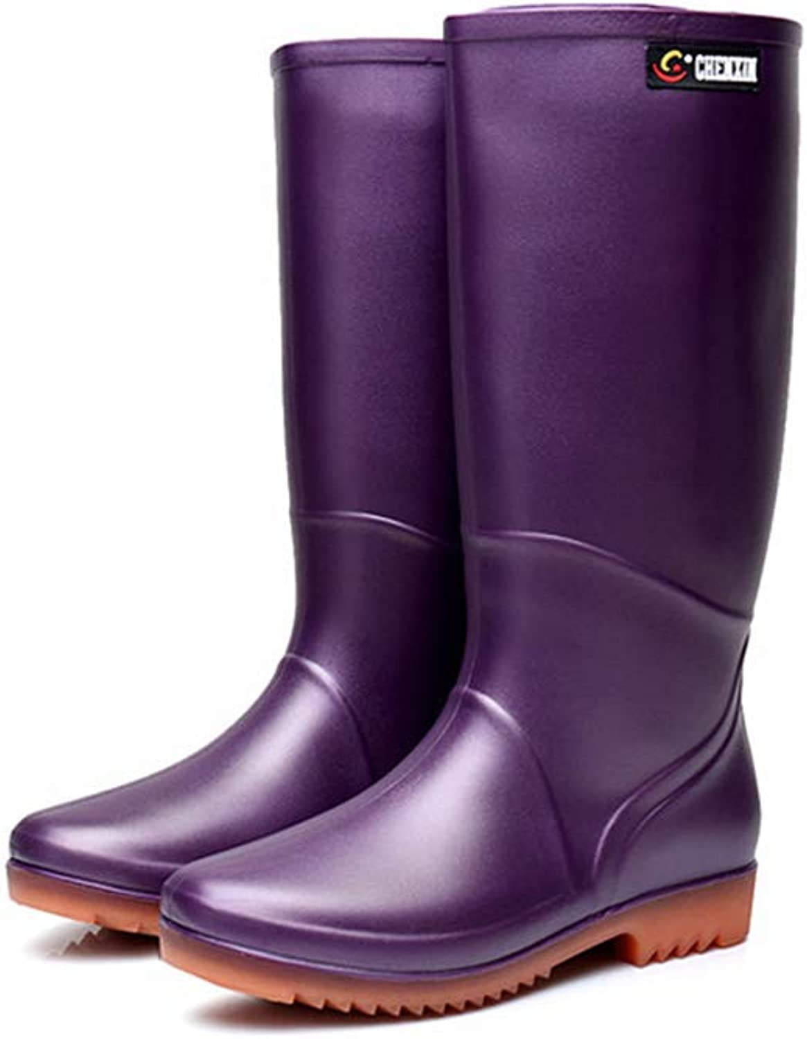 CHENSF Womens Winter Rain Snow Flat Rubber Mid Calf Short Rainboot