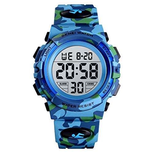 SKMEI Reloj digital de camuflaje para niños con alarma LED 50 m, resistente al agua, para niños