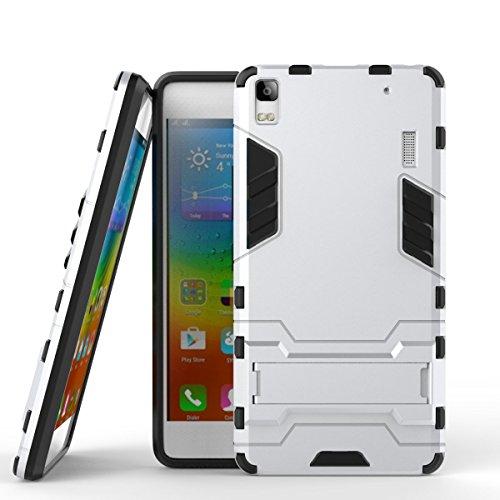 Sunrive Funda para Lenovo K3 Note, Fuerte Híbrido de Doble Capa Cubierta Resistente con la Función de Soporte Choque Absorción Funda Gel Carcasa Case Bumper(z Plata) + 1 x Lápiz óptico