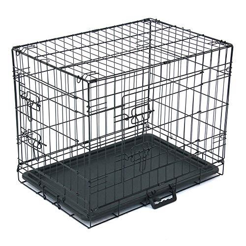 Keymao Dubbele Deur Opvouwbare Metalen Hond Crate, Huisdier Kennel Kat Hond Vouwen Staal Crate Dier Playpen Draad Metaal, Zwart, 24-inch.