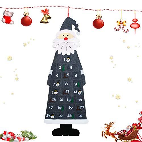 Adventskalender zum Befüllen Kinder,Weihnachten Adventskalender Befüllen,Weihnachtsmann Adventskalender mit 24 Taschen,Aus Stoff zum Aufhängen,Weihnachtskalender DIY kinder,Stoff-Adventskalender(grau)