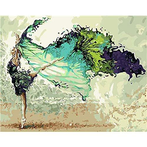 Pintura Al Óleo Pintada A Mano Sobre Lienzo,Chica Bailando En Verde Falda,Vintage Abstracto Contemporáneo De...