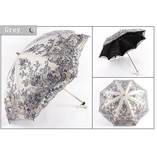 Sonnenschirm Regenschirm Spitze Falt Frauen Regen Regenschirm Mädchen Sonnenschirm Aktivität Hochzeit Wasserdicht Anti-Uv-Regenschirme Grau