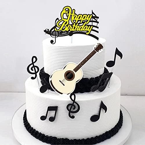 Ouceanwin 40 Stück Musiknoten Cupcake Topper Kuchendeko Happy Birthday Tortendeko Gitarre Cake Torten Muffin Decoration, Picks Geburstagstorte Deko für Musikalisches Thema Party
