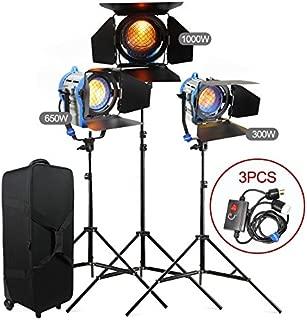 Alumotech 300Watt+650Watt+1000Watt+Dimmers+Stands 1950Watt Fresnel Tungsten Spotlight Halogen Lamp Studio Video Light Kit Air Cushioned Stands For Camera Lighting Compatible Bulb