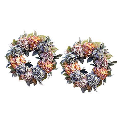 freneci 2X Artificial Hydrangea Wreath for Front Door 22'' Wedding Home Decoration