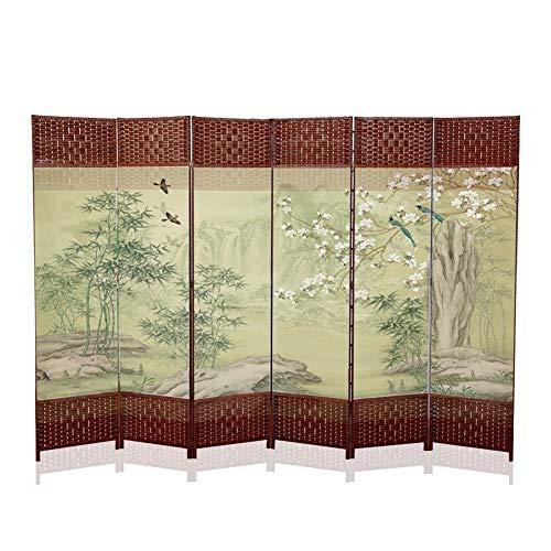 QIANDA Paravent Raumteiler, Raumtrenner Sichtschutz 6 Panels Falten Segeltuch Bildschirm Holz Rahmen Einzel Doppel Seitig Chinesischer Stil Zimmer Partition