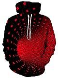 Sudadera con capucha unisex 3D, realista, de forro polar con bolsillo de canguro para hombre, mujer, adolescentes, de UNIFACO Rojo Túnel Rojo S