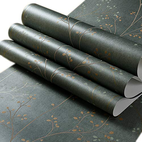 Q QIHANG Modern Minimalist Thick Non-Woven Tree Patterns Style Non-Pasted Wallpaper Roll Dark Green Color 0.53m x 10m=5.3SQM
