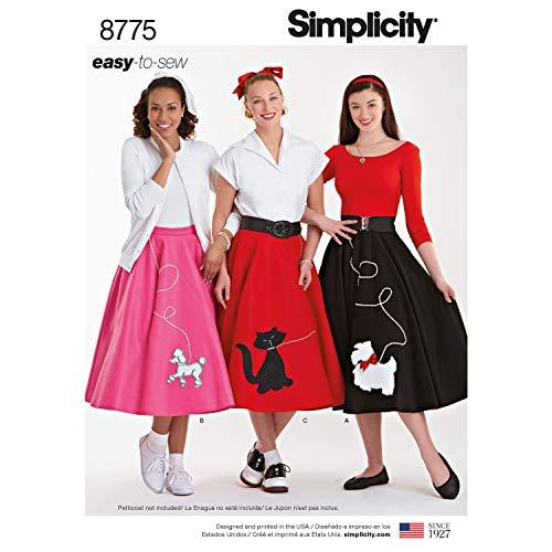 Simplicity 8775 Schnittmuster für Damen im Stil der 1950er Jahre, Rockabilly, Pudelrock, Gr. 34-40