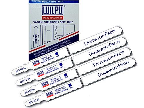 Sandwich Stichsägeblätter 4St MG52 >100 mm u. 130 mm = 180 mm extra lang für Stichsäge mit t-Schaft Aufnahme u Stichsägetisch
