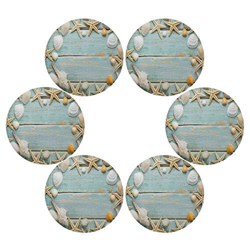 QMIN Juego de 6 manteles individuales redondos, diseño de estrellas de mar, marina, conchas marinas, resistentes al calor, antideslizantes, lavables para mesa de comedor, cocina, decoración del hogar