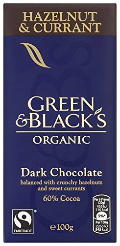 Green & Black's Organic Hazelnut and Currant Dark Chocolate Bar, 100 g, Pack of 5