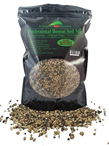 Bonsai Soil Mix - Premium Professional, All Purpose, Sifted and Ready to Use Tree Potting Blend in Easy Zip Bag - Akadama, Black Lava, Pumice & Charcoal (1.25 Quart)