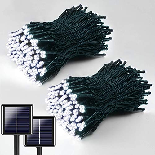 White Ultra-Long Solar String Lights 144FT, 2-Pack Each 72FT 200 LED Waterproof Green Wire Solar Lights Outdoor Decorative, 8 Modes Solar Fairy Lights for Patio, Garden, Party, Wedding (Cool White)