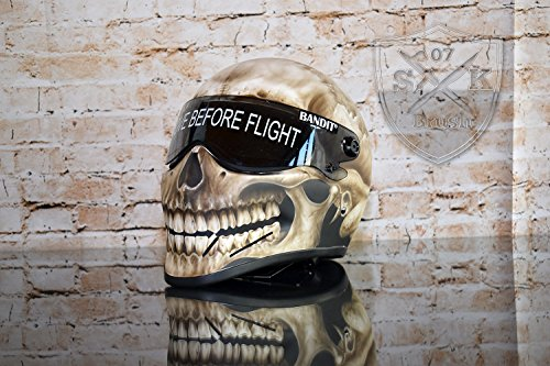 Bandit Crystal Fighter Helm Airbrush Skull Design Matt Gr. XL NEU