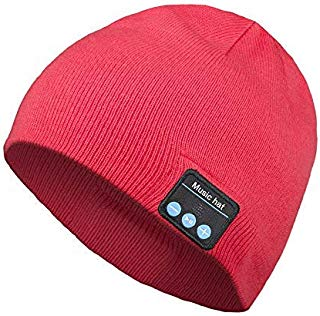 Bluetooth Beanie Hat, Wireless Headphone Beanie, Gifts for Men and Women, Winter Knitting Beanie Cap Bluetooth Earphones, Built-in Microphone Hand-Free Calling(Red)