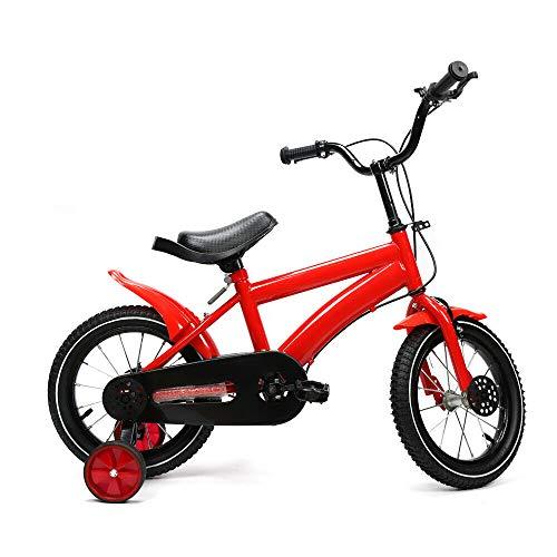 Kinderfahrrad 14 Zoll,Mädchenfahrrad Jungen Fahrrad mit Hilfsrad, Kinder (Rot)