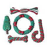 U/H Juguete de cuerda de algodón para mascotas de Navidad anti-mordedura y molar juego de juguetes interactivos para perros