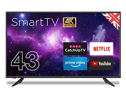 """Cello C43RTS 43"""" Smart 4K UHD TV Wi-Fi and Freeview T2 HD with Netflix, YouTube, Catch Up TV Apps. Made In The UK,Black"""