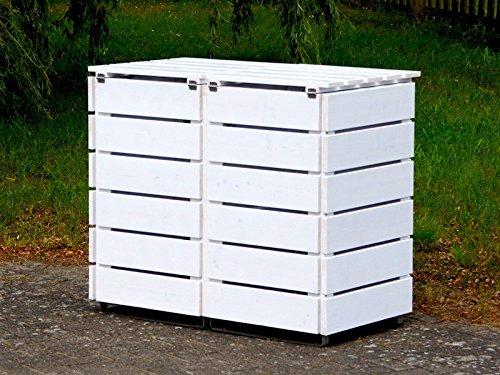 2er Mülltonnenbox / Mülltonnenverkleidung 120 L Holz, Deckend Geölt Weiß - 3