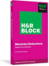 $24 » H&R Block Tax Software Deluxe 2020 with Refund Bonus Offer (Amazon Exclusive) (Physical Code by Mail)