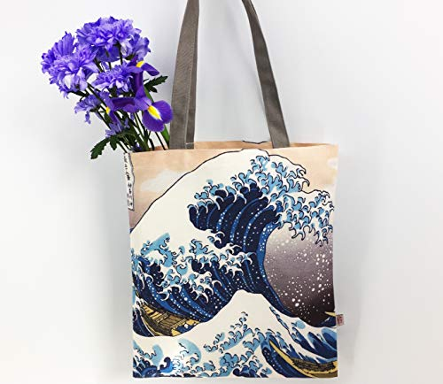 The Great Wave off Kanagawa - Bolsa de lona para regalos japoneses | Hokusai Japón Art Shopping Bag | Bolsa de lona reutilizable fuerte de 12 onzas con asas largas