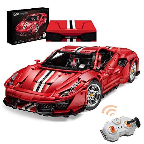 Cordi8553ll Technic Bausteine Auto Ferrari 488 Pista, 3187Teile 2.4G 1:8 Sportwagen klemmbausteine Technik Bausteine mit Motoren Konstruktionsspielzeug Kompatibel mit Lego