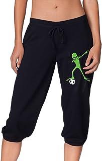 HLGd39-5 Women Power Flex Jogger Sweatpants Halloween Dabbing Alien Soccer Dabbing Alien Jogger Pants