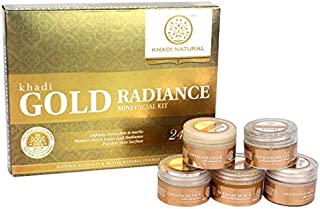 Khadi Natural Herbal Ayurvedic Gold Radiance Mini Facial Kit with Cleanser, Gel Scrub, Massage Cream, Facial Gel, and Facial Pack for All Skin Types (75 g)