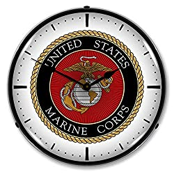 United States Marine Corps LED Wall Clock, Retro/Vintage, Lighted, 14 inch