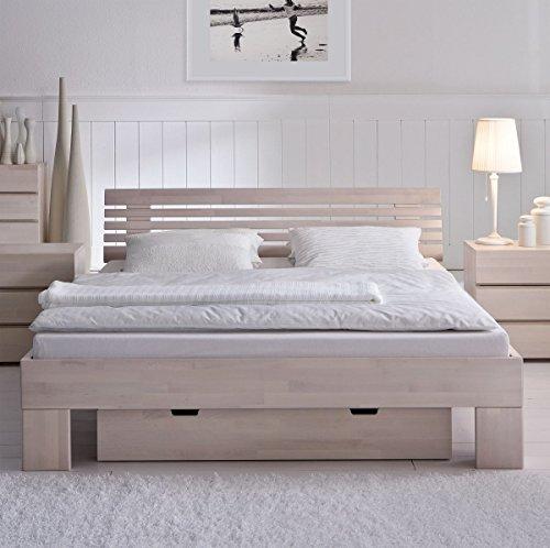 Preisvergleich Produktbild Hasena Bettgestell Wood Line Buche weiß Kopfteil Litto Massa 25 180x200