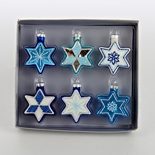 Set of 6 Glittered Blue and White Star of David Glass Hanukkah Holiday Ornaments 2.25'