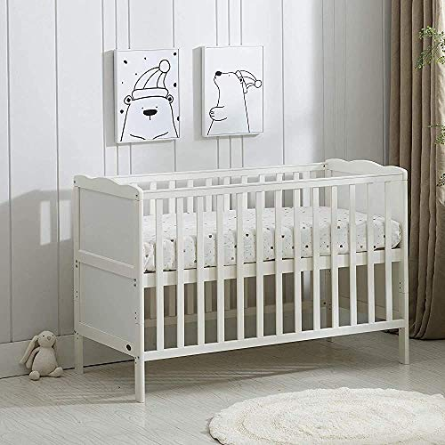 Quality Waterproof Crib Mattress Made from Solid Organic Pine Adjustable Suitable from Birth to 5 Years Old,White