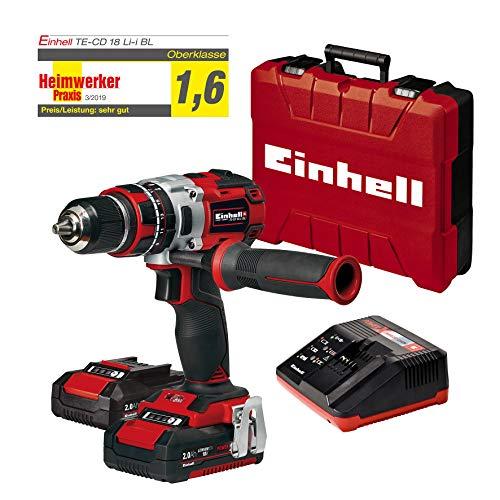 Einhell 4513861 Te-CD 18 Li-I Bl, Trapano a Percussione 2X2.0 Ah, Aluminio, Nero, Rosso