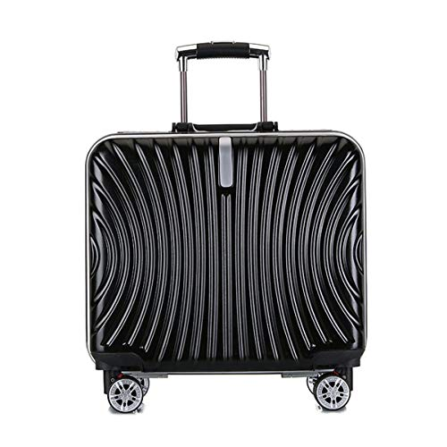 fosa1 Hand Luggage Trolley case ABS + PC Convenient Trolley Case, Boarding Mute Travel Case,Wheels Travel Rolling Boarding,18' Inch (Color : Black)