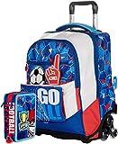 Gopop Schoolpack Zaino Scuola Trolley Champion 3 Ruote 47x34x23 cm + Astuccio 3 Zip