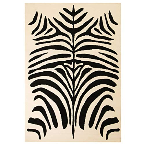 FAMIROSA Alfombra Moderna con Estampado de Cebra Beige/Negro 80x150 cm